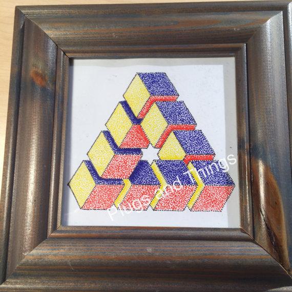 Drawn stars penrose Star geometric cubes dot with