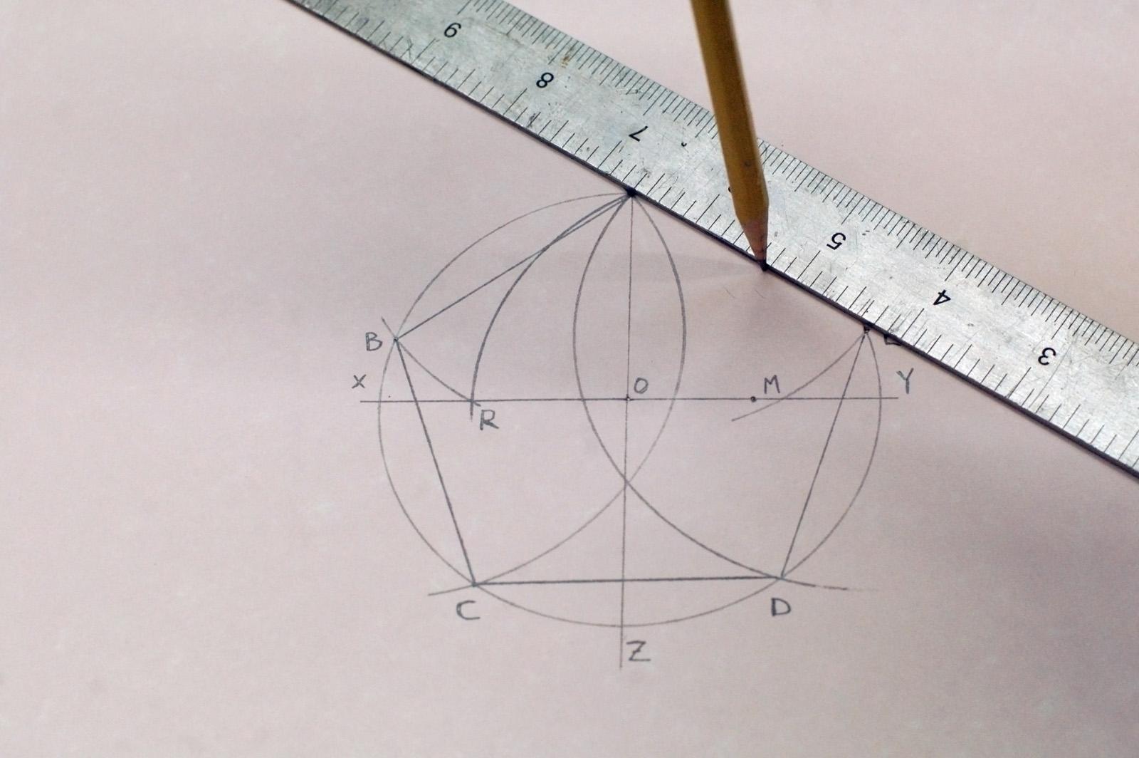 Drawn stare pentagon Compass a to a a