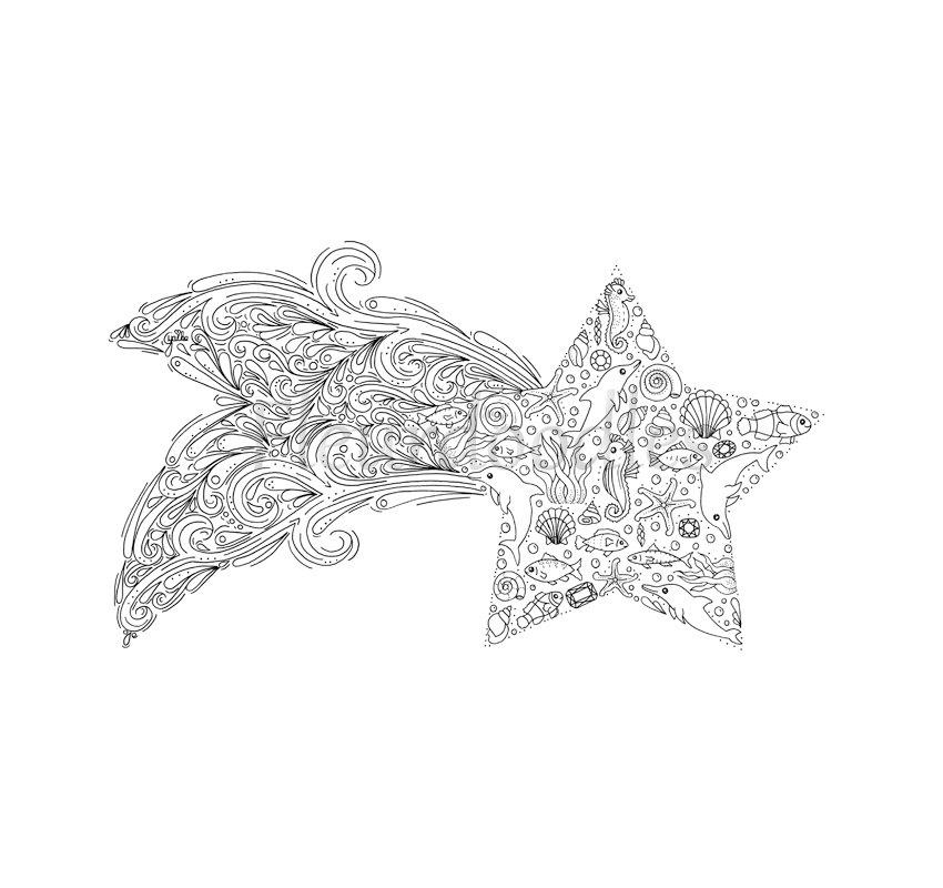 Drawn star printable Coloring download digital  This