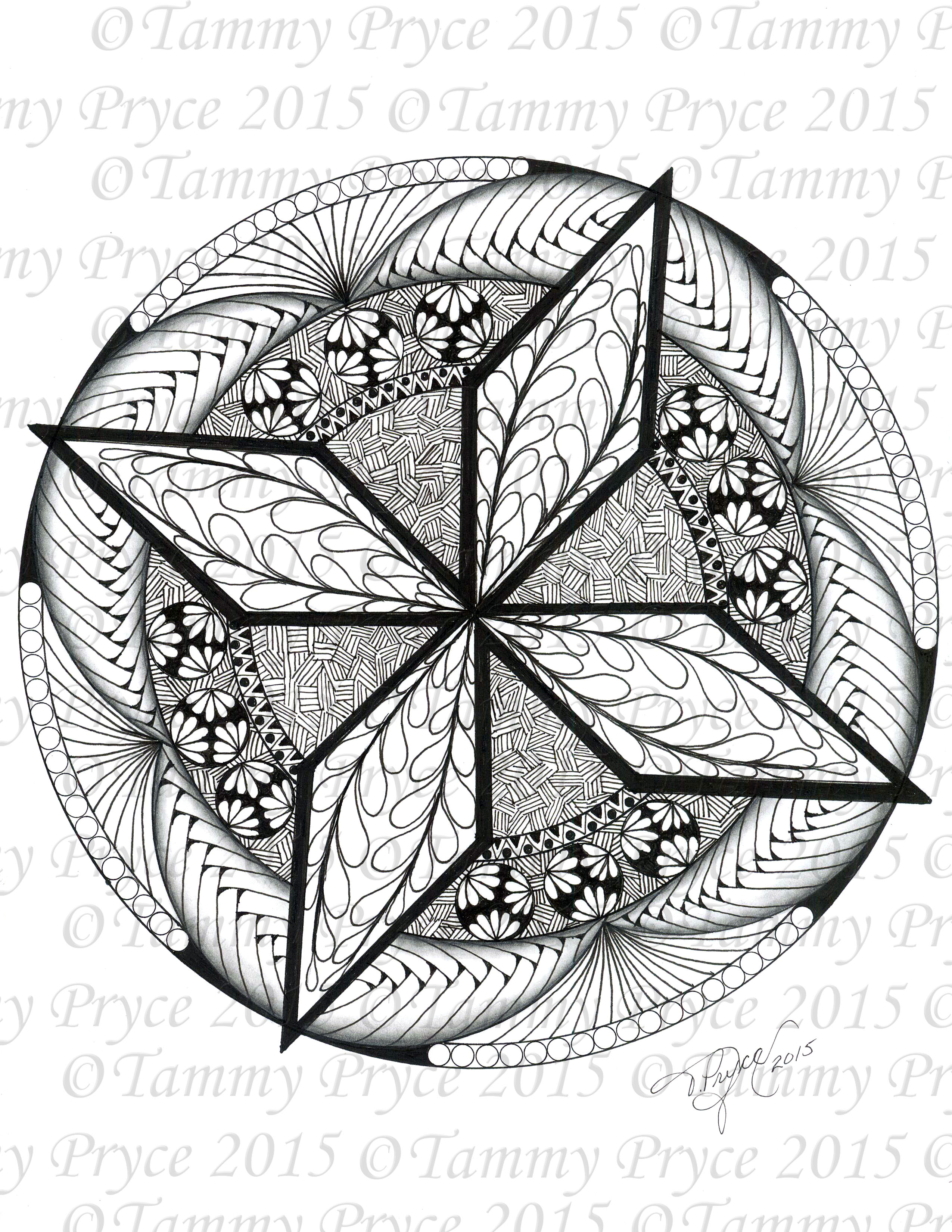 Drawn star printable Mandala Instant Drawn Star Coloring