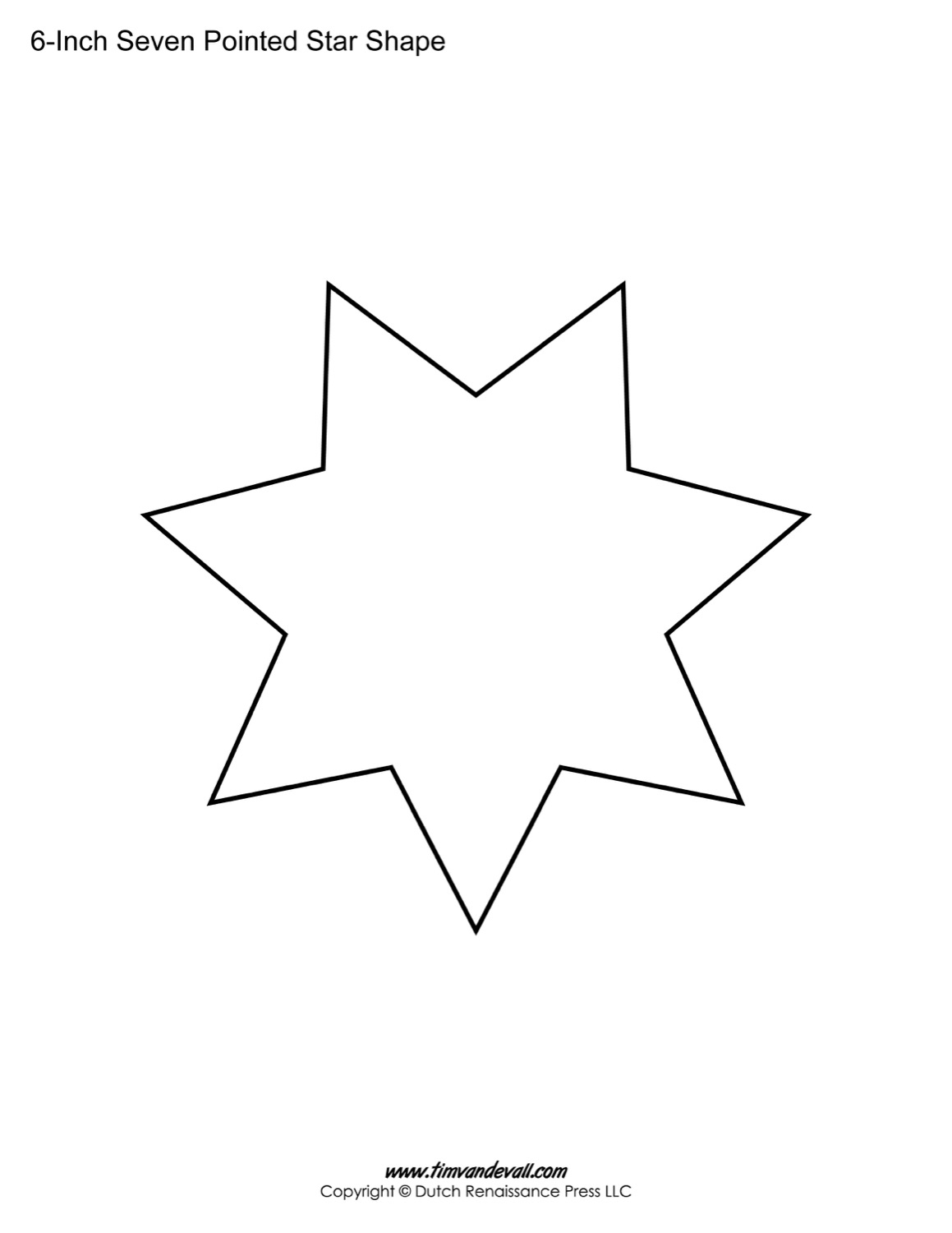Drawn star sided For Shapes Templates printable Pointed