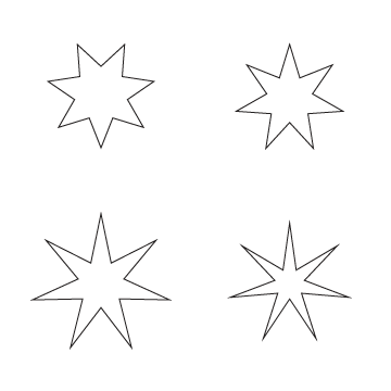 Drawn star sided Of? is swirling What character
