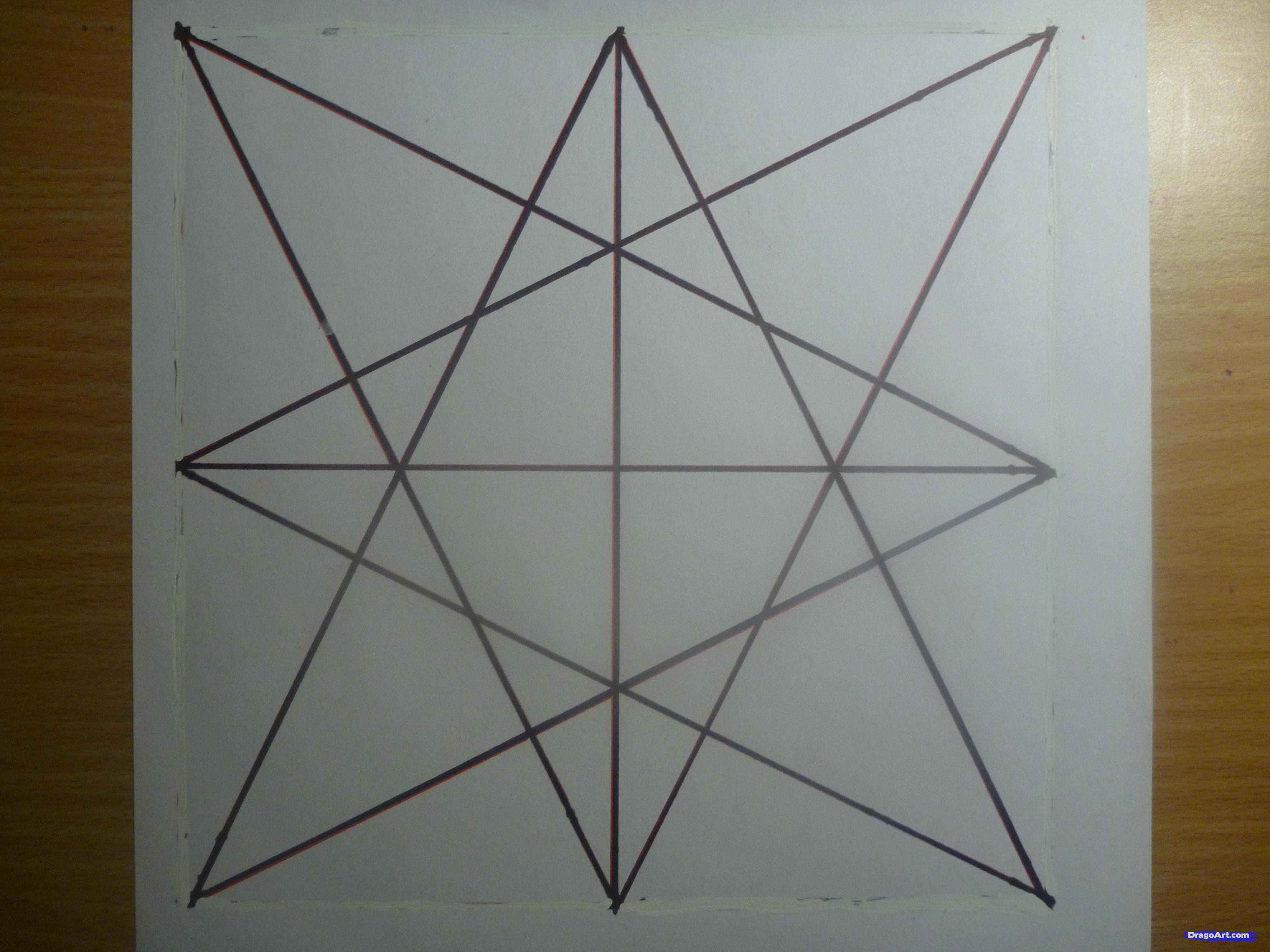 Drawn star sided Star Eight to Pointed Step