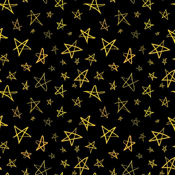 Drawn stare black sky Stars Patterns hand Golden on