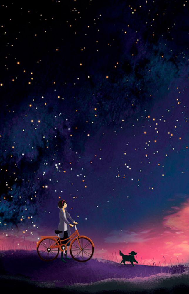 Drawn star sky full Night the think than on