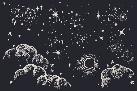 Drawn stars the sky drawing On Star Illustrations Illustrations Moon