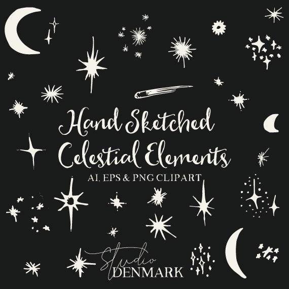Drawn stare vector art / AI 31 Celestial Clipart