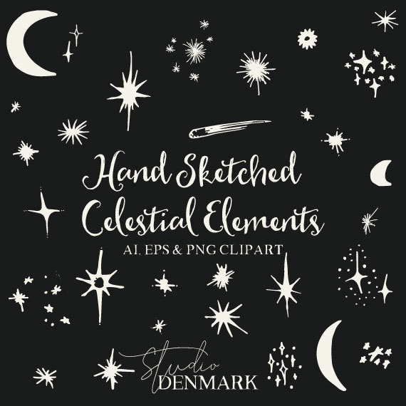 Drawn stare vector art / AI Clipart 31 Moons
