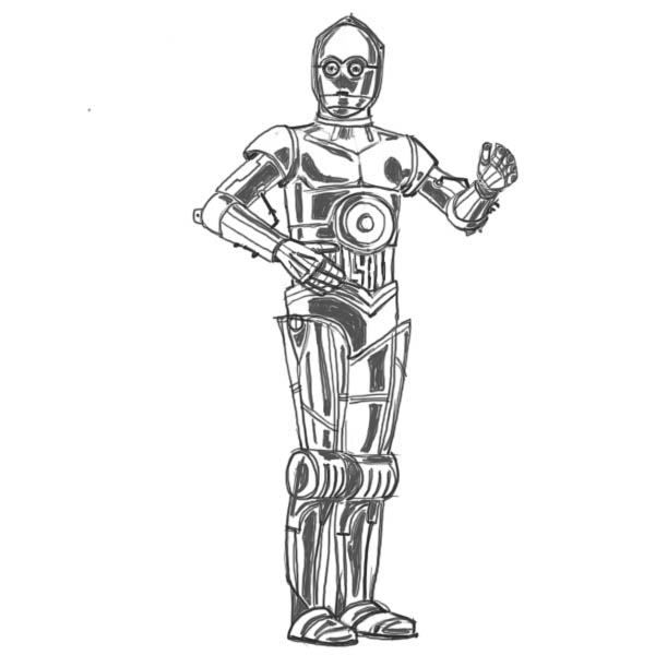 Drawn star wars c3po Wars characters characters How to