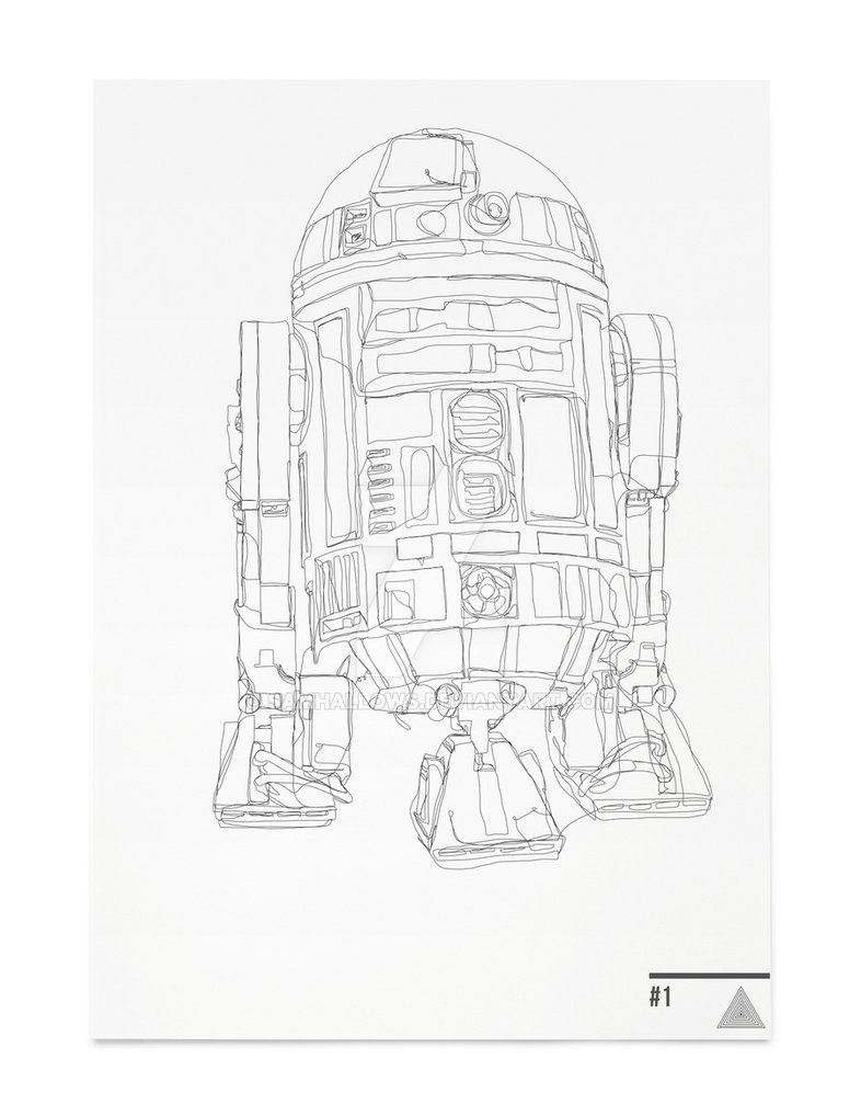 Drawn star wars continuous line Line SamHallows Line R2D2 on