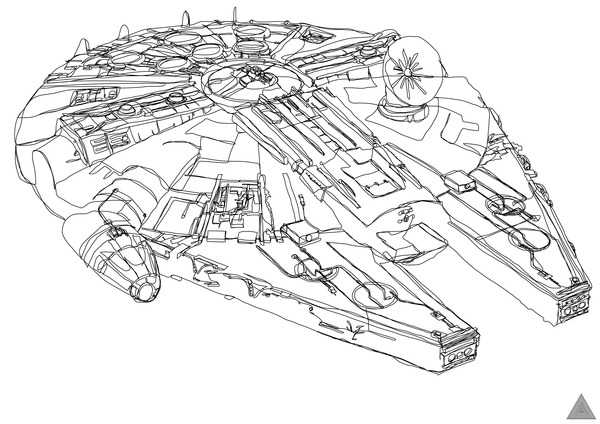 Drawn star wars continuous line Drawings Drawings Continuous Continuous Wars