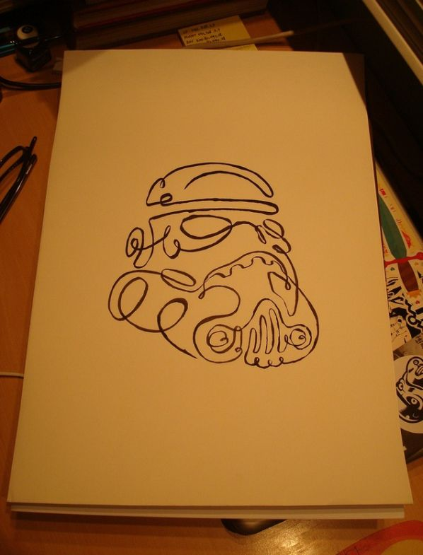 Drawn star wars continuous line Line star Walyou one One