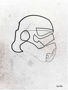 Drawn star wars continuous line Boundaries linea dibujos Break sola