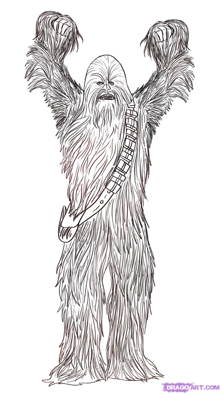 Drawn star wars full body The step Chewbacca Step to