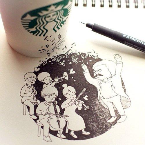 Drawn starbucks cofee Doodlers Cup Starbucks Doodles Coffee