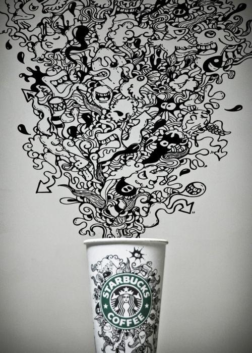 Drawn starbucks doodle Art Starbucks Tumblr Best 25+