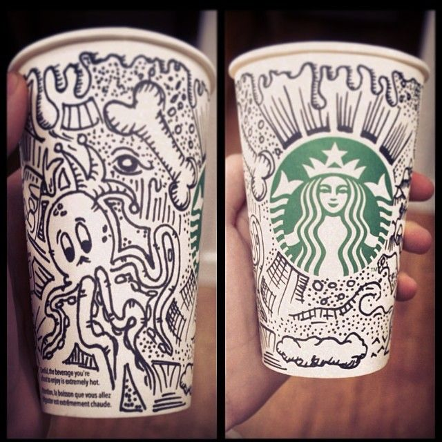 Drawn starbucks doodle Art Cup on Pin and
