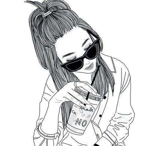 Drawn starbucks hair Follow grunge draw images girl
