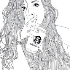 Drawn starbucks hair Drawing for drawings tumblr Image