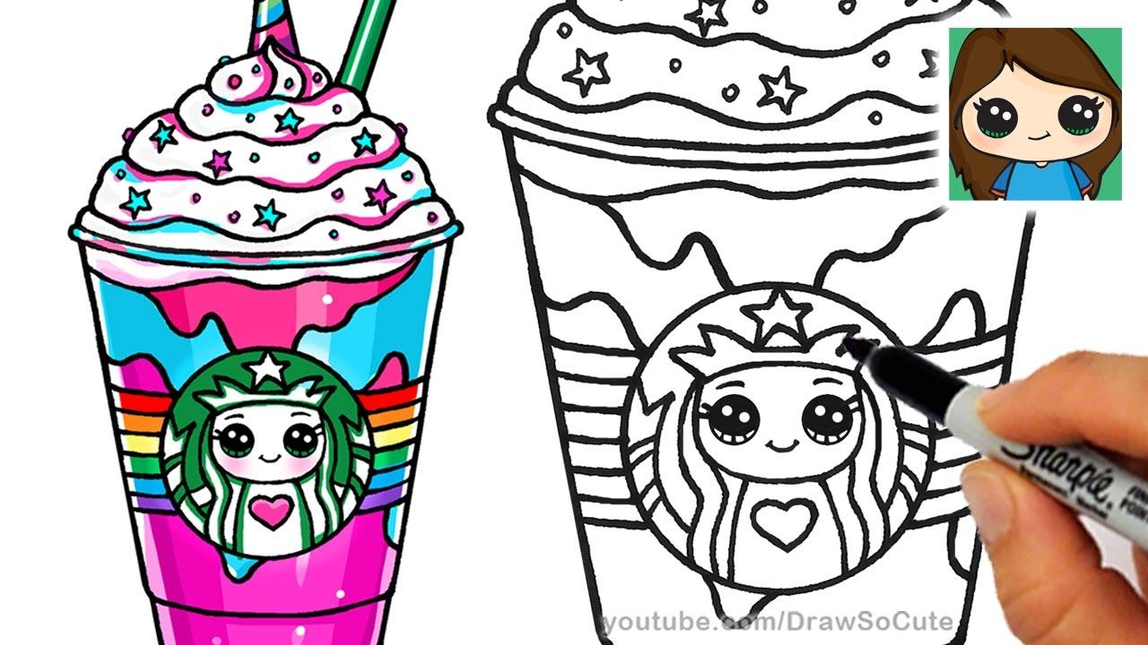 Drawn milkshake Draw to Unicorn YouTube Frappuccino