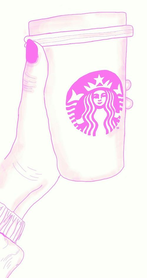 Drawn starbucks pink tumblr It awesome outline☆♡ and image