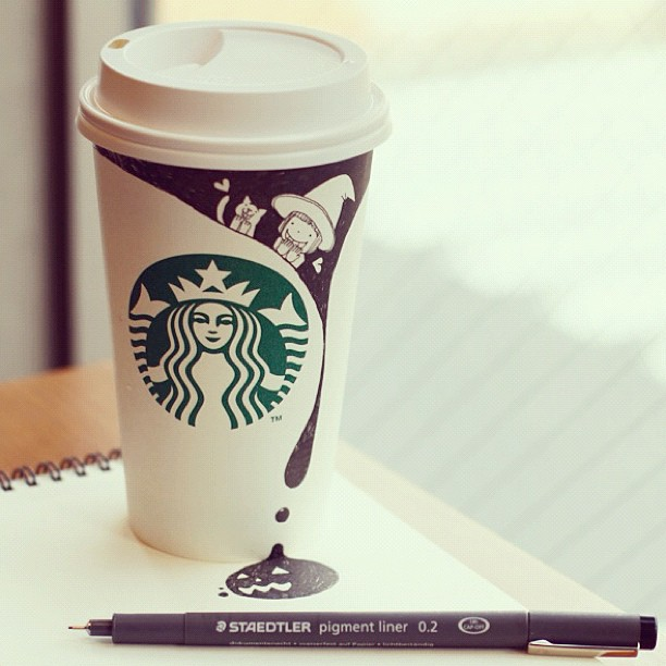 Drawn starbucks simple Onto Paper Cute Cute Characters