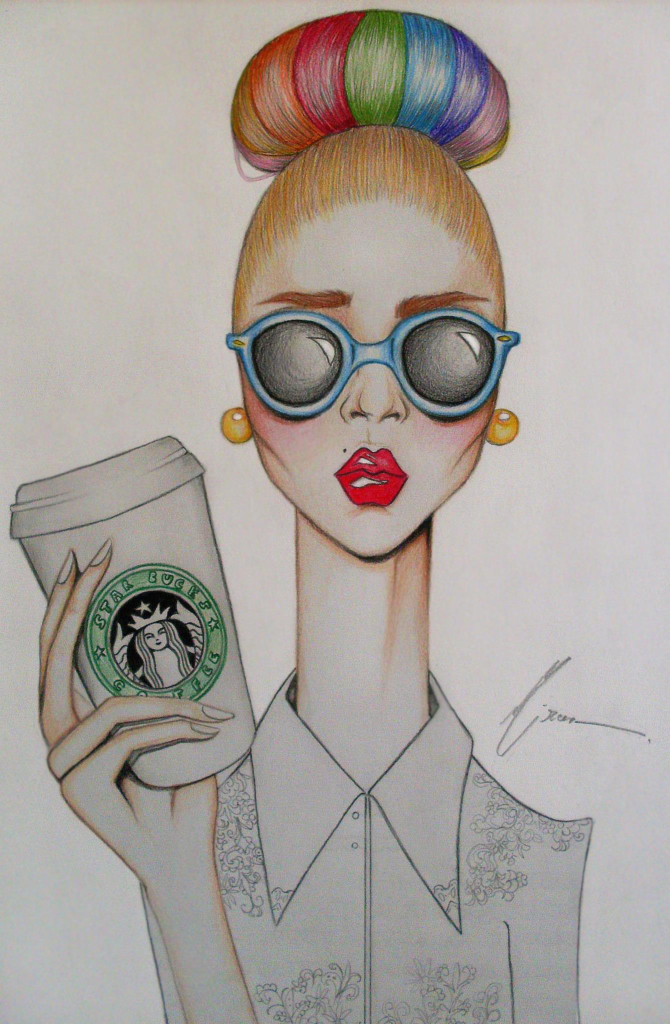 Drawn coffee Coffee cute art Haha Haha
