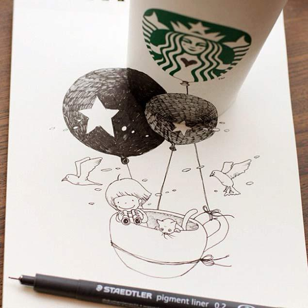 Drawn starbucks tomoko shintani Transforms works cups TOMOKO SHINTANI