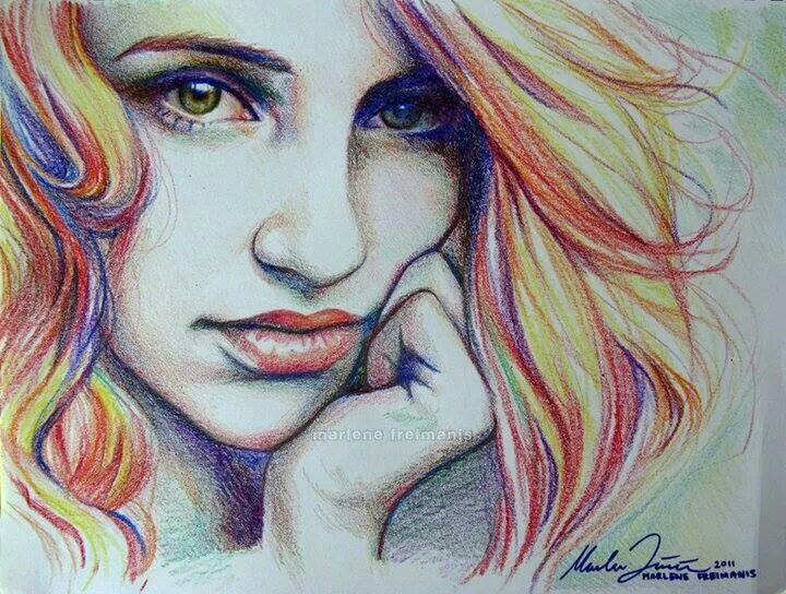 Drawn stare crayon Nose  hair face young