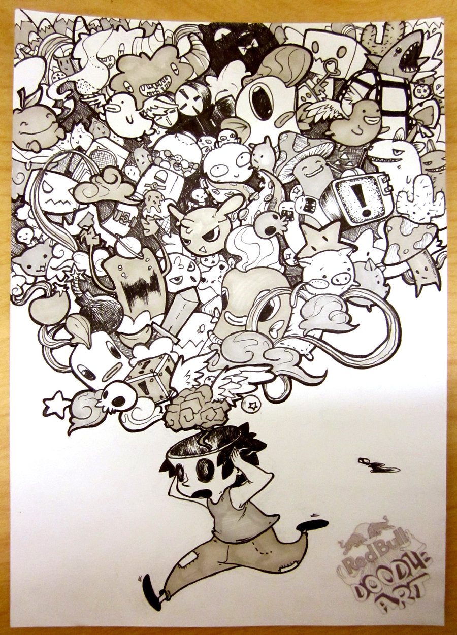Drawn stare doodle art Deviantart Redbull entry by Doodle