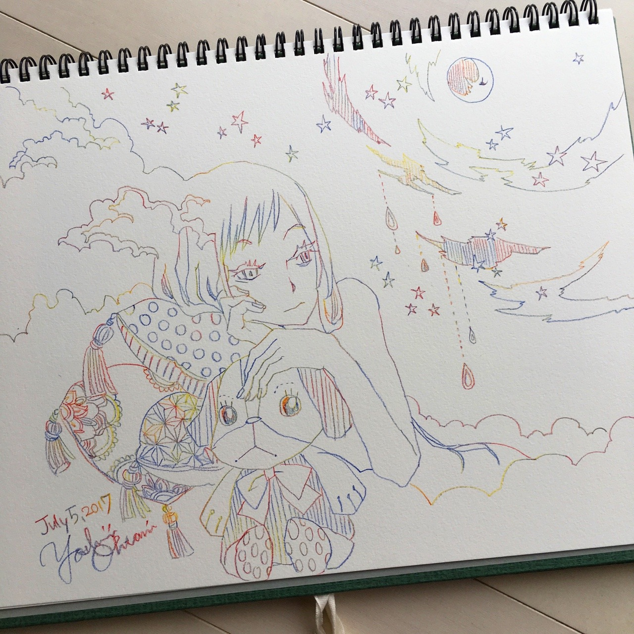 Drawn stare scribble 2017 Scribble sky July Today's