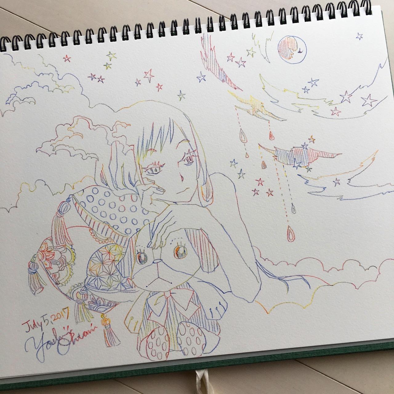 Drawn stare scribble 2017 funarium sky July Today's