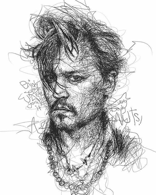 Drawn stare scribble : 20 Celebrity Vince #johnnydepp