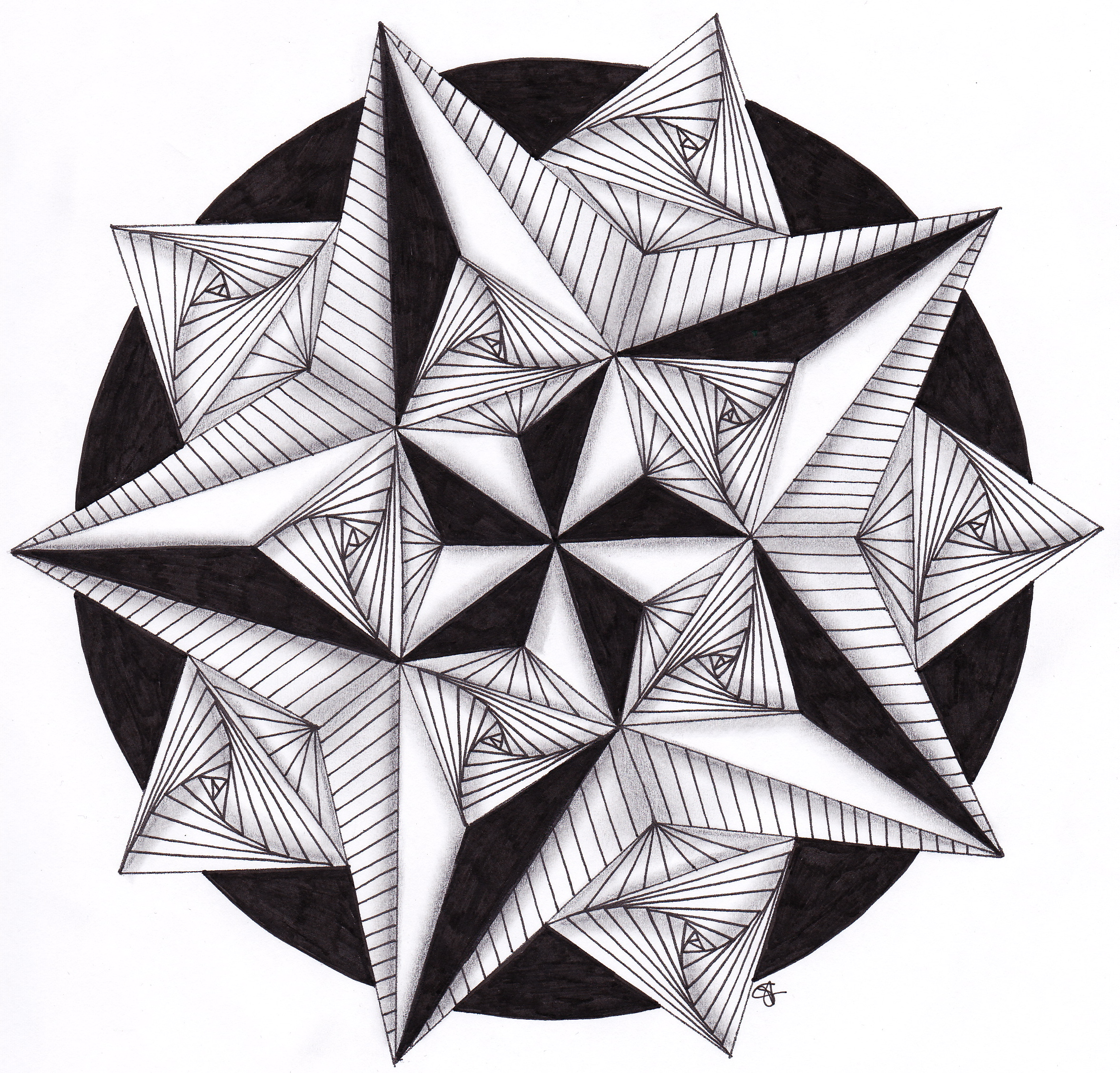 Drawn stare symmetrical Mandalas filled with paradox star