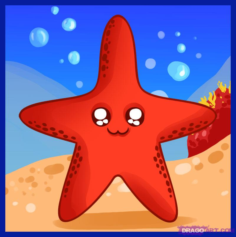 Drawn starfish cute How animals Step Animals a