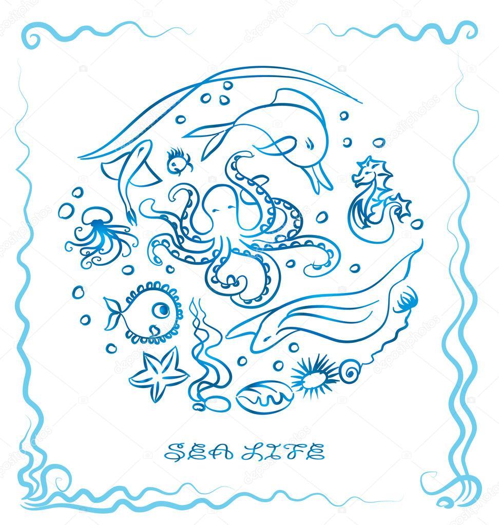Drawn sea life octopus Life sea paint paint octopus