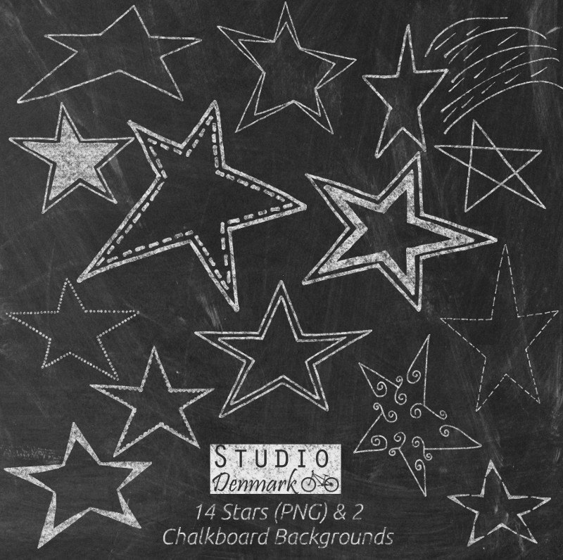 Drawn stars black sky 14 Chalkboard Stars Clipart