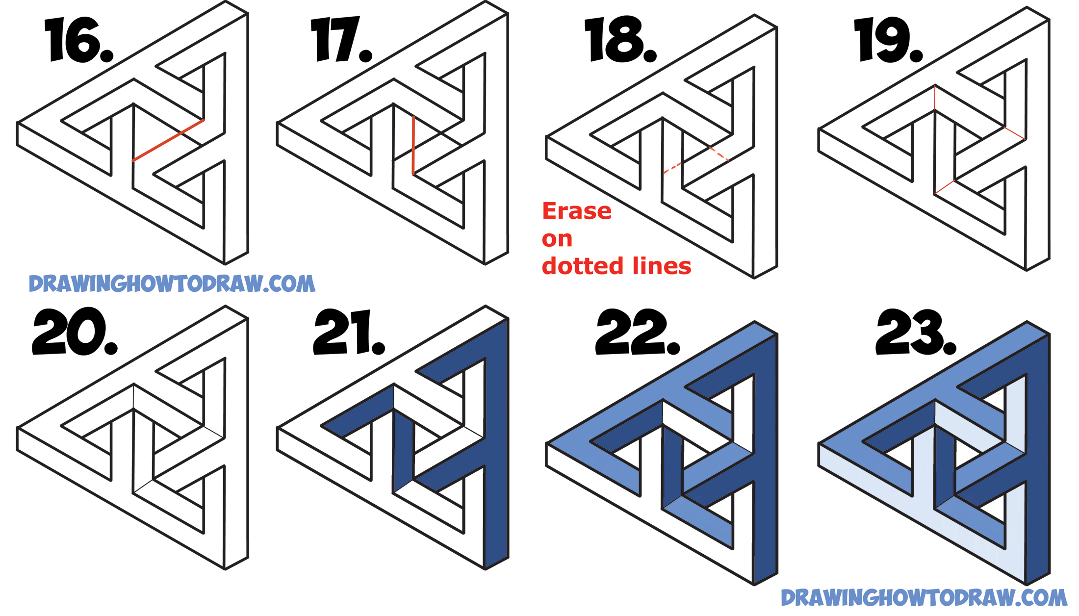 Drawn stars penrose Triangle) Impossible (Penrose for Triangle)