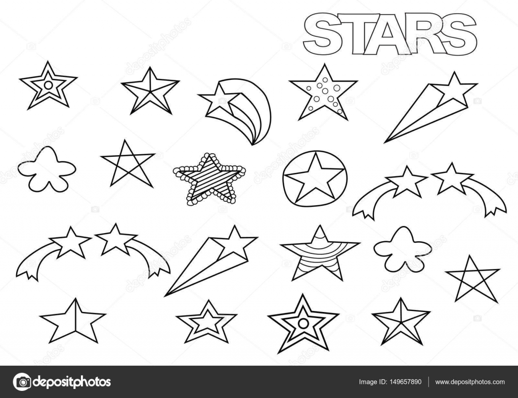Drawn stars template  Coloring template Coloring book