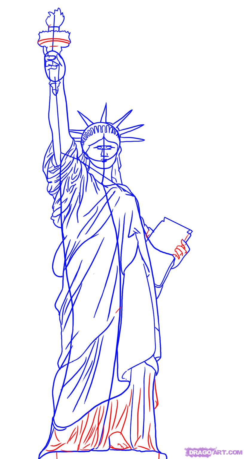 Drawn statue of liberty Of of Liberty 5 step