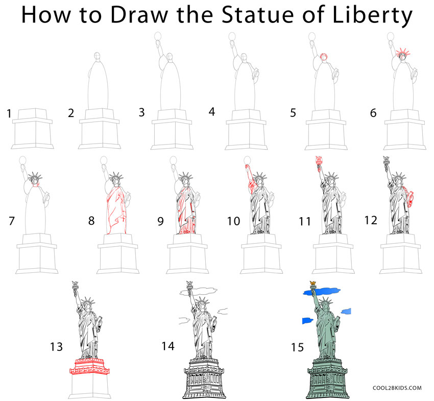 Drawn statue of liberty Statue of of by Step