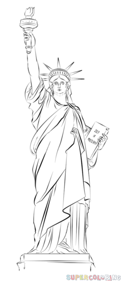 Drawn statue of liberty Step of by to How