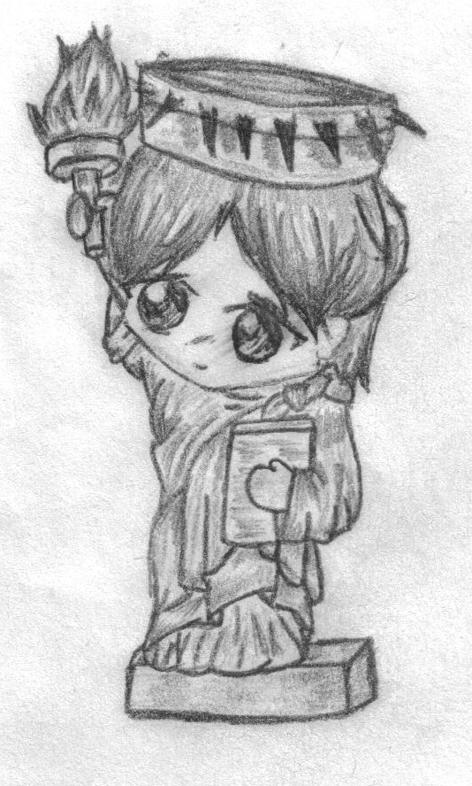 Drawn statue of liberty chibi By Lawlietlittle Liberty of The