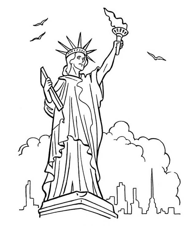 Drawn statue of liberty coloring page New liberty Statue ColoringStar pages