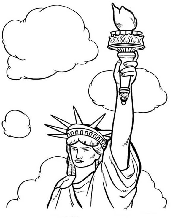 Drawn statue of liberty coloring page White 368731  Coloring Liberty