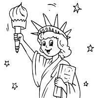 Drawn statue of liberty coloring page Coloring liberty statue flag these