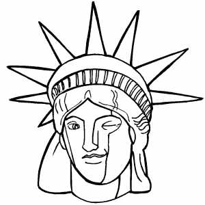 Drawn statue of liberty crown  Coloring Statue Liberty Page