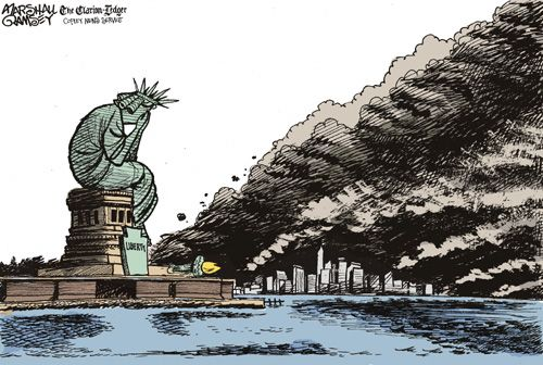 Drawn statue of liberty fallen And liberty Liberty Never 09/11/01: