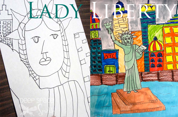 Drawn statue of liberty liberty kid Space Liberty Watercolor Lady featured