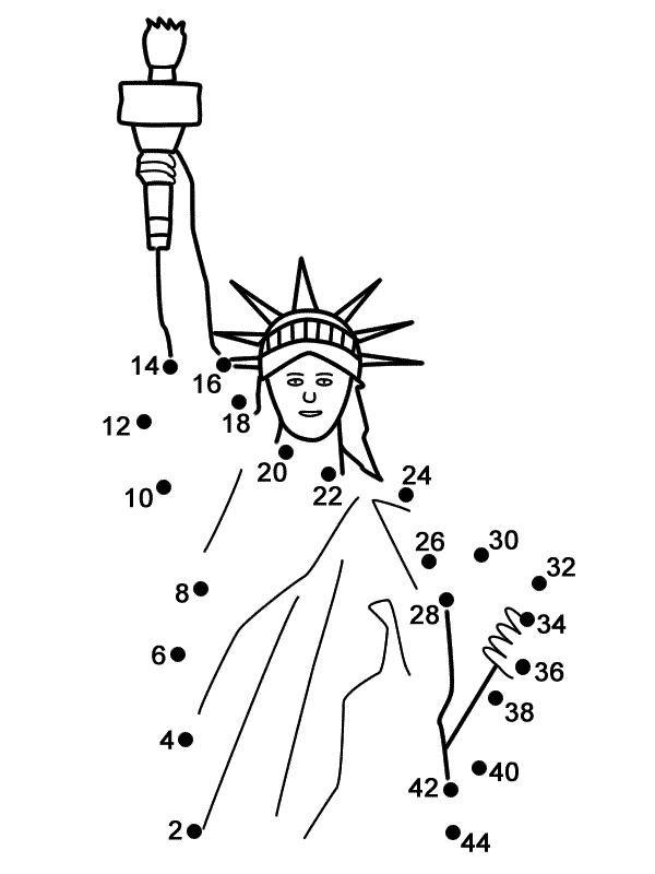 Drawn statue of liberty liberty kid By the Connect connect dots